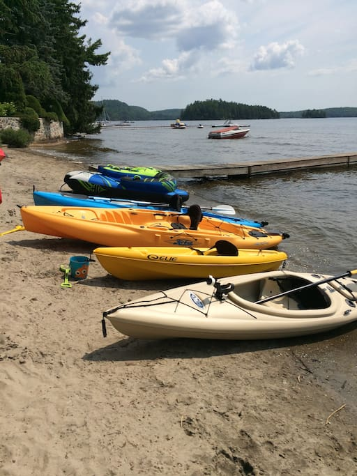 Our Hobie kayaks are the long yellow & blue ones.