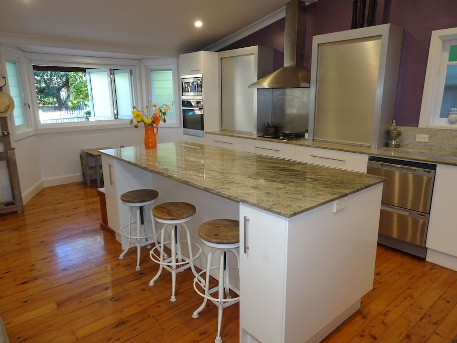 Kitchen, Granite Benchtops and Front Bi-fold Windows