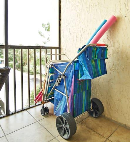 Beach cart with 3 beach chairs & umbrella