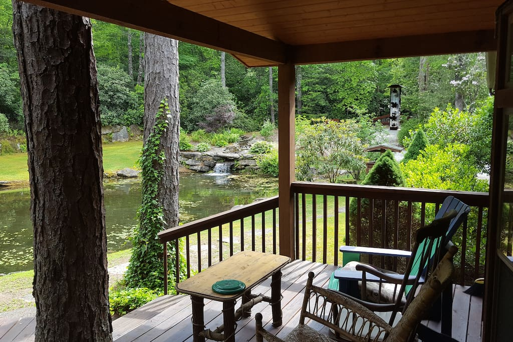 Front Deck view of Waterfall and Pond
