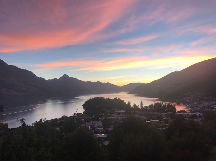 View of Queenstown at sunset