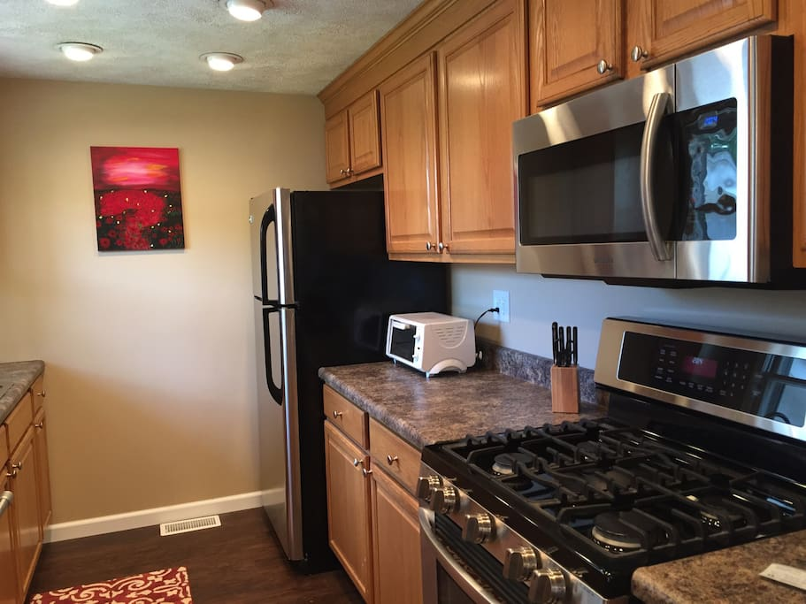 Kitchen with stainless steel new appliances