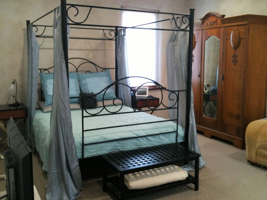 The bed that you will be sleeping in, the wardrobe to hang some clothes!
