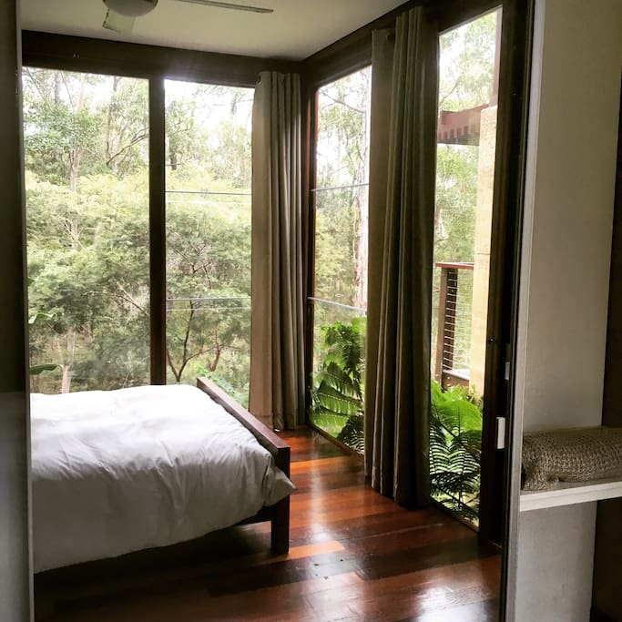 Queens bedrooms are private looking out to the beautiful bush land setting.