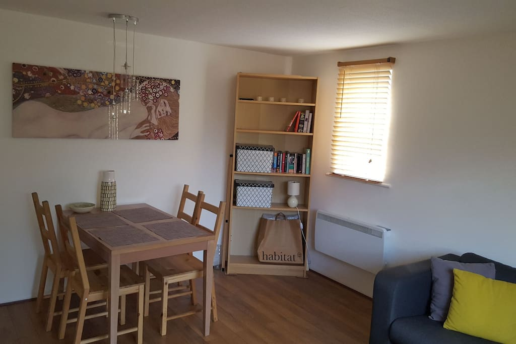 Living room, dining area
