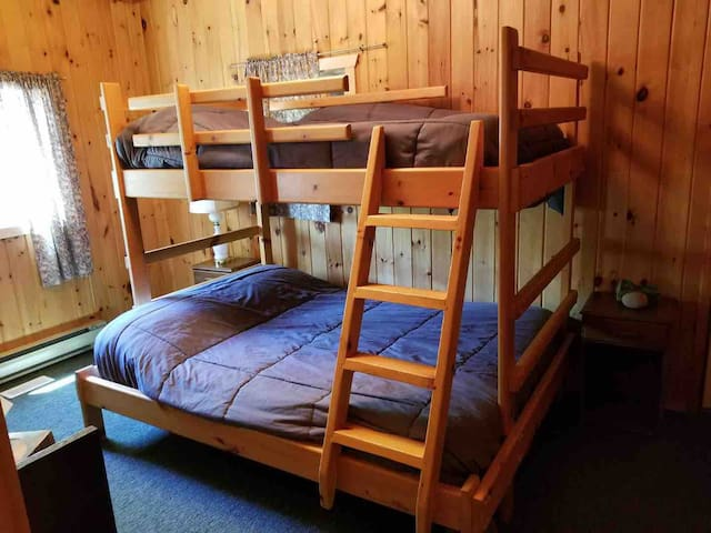Bedroom #2 bunk beds double on bottom, single on top