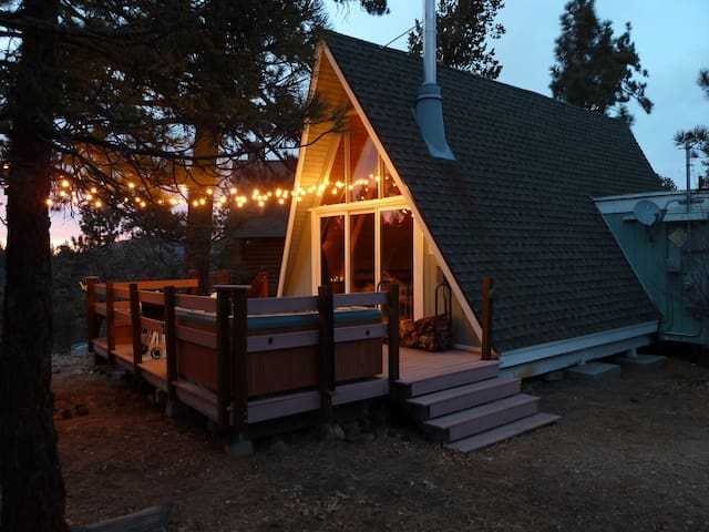 Rustic A-Frame Cabin with Spa, Near Golf Course!