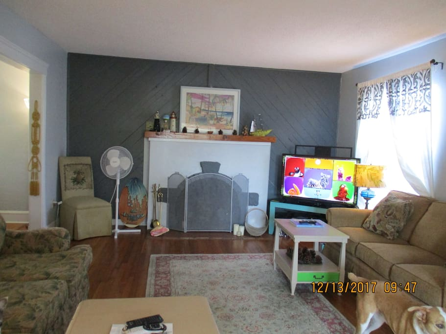 living room with fireplace & smart TV & WIFI