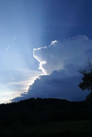 Summer thunderheads to the west