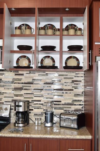 Kitchen Appliances and Plates
