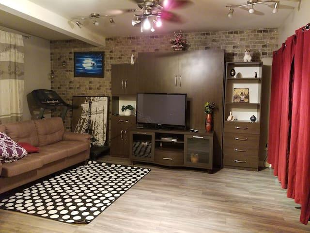 Grand sous sol avec chambre et salon à louer