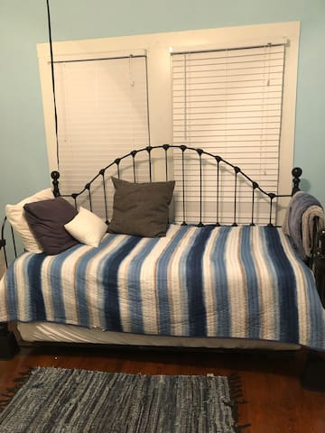 Daybed with trundle (two twin mattresses) are located in bedroom #3. There is also a desk for work space and a dresser. There is a TV in this bedroom with an antenna for local TV as well as a DVD player