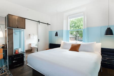 Such a bright and beautiful room. Guests are loving the Tuft and Needle mattresses and peach skin sheets.  Many have said it is more comfortable than their bed at home. Can't wait to have you
