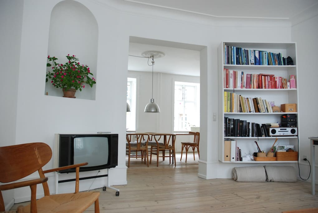 Living room, view to dining room
