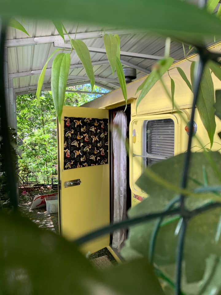 Vintage 18'  trailer glamping in Nevada City