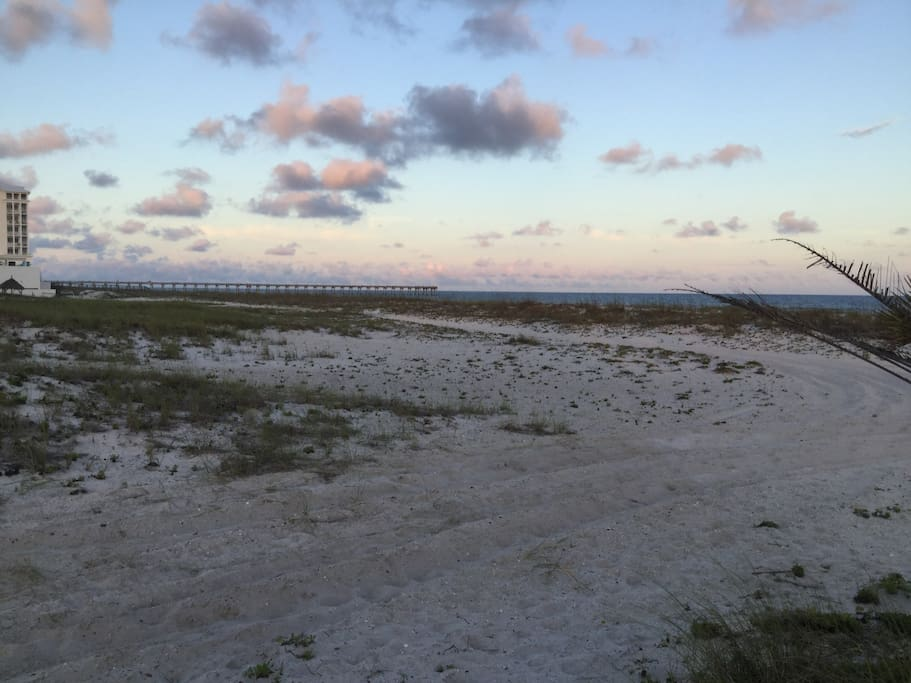 View of Pensacola Beach Pier at path across the street