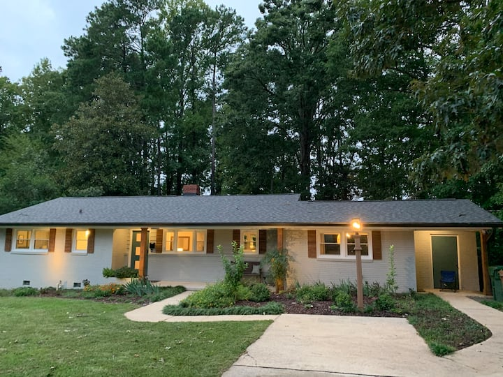 Urban living in Cary Mid-century modern home.