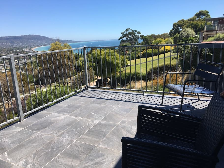 Private Balcony with views of Martha Cove Marina, Safety Beach, Dromana, McCrae, Rosebud Beaches and Mountains along Arthur Seat