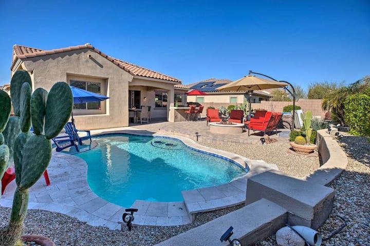 Goodyear backyard Oasis, pool, hot tub, fire pit