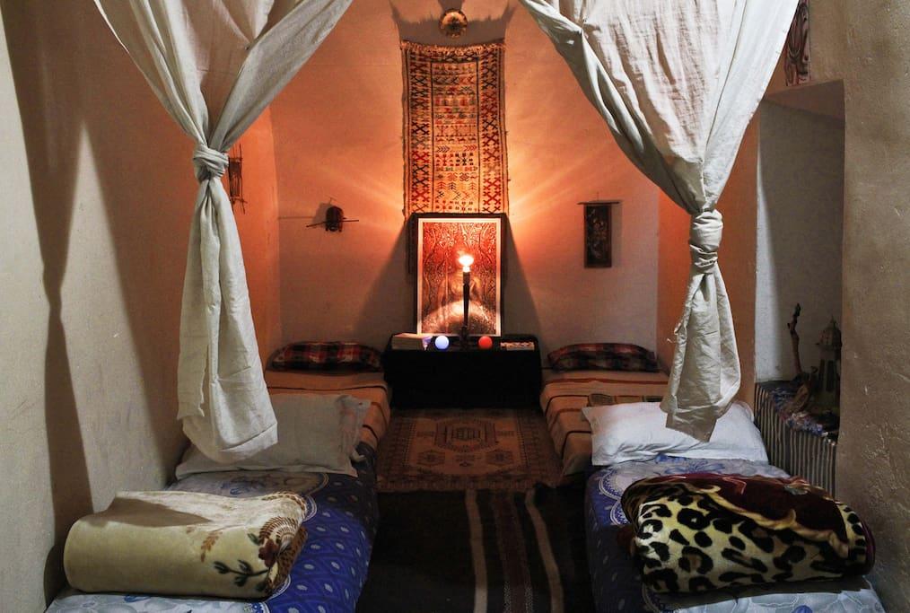 4 single beds comfortable spacious bedroom