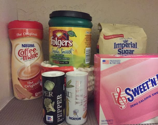 Coffee, creamer, sugar and filters are provided