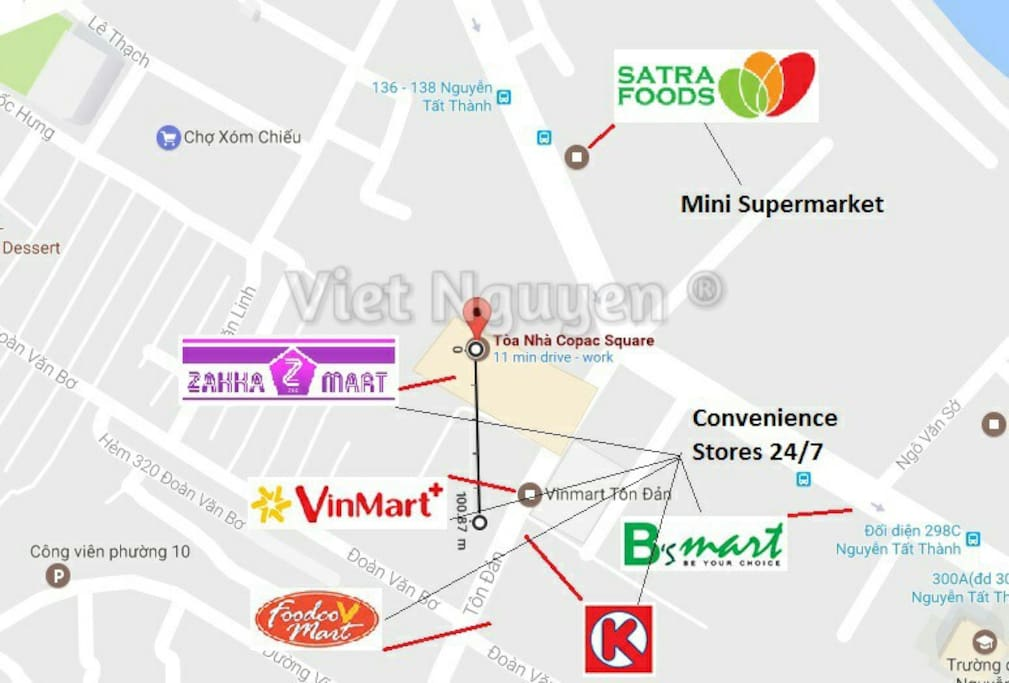 Nearby 24/7 convenience stores and mini supermarkets