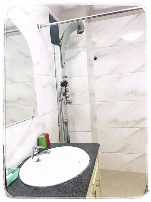 Bathroom with full body kit.