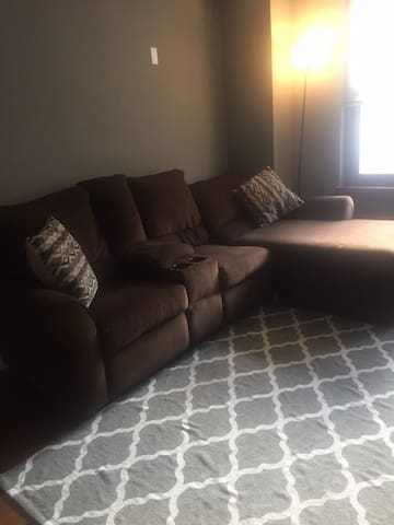 Comfy couch to crash on and great location!