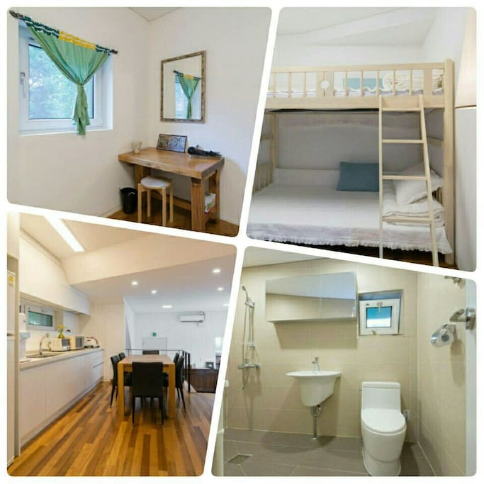 you can see another room with 2 beds, table, kitchen(free of charge), restroom in this house.
