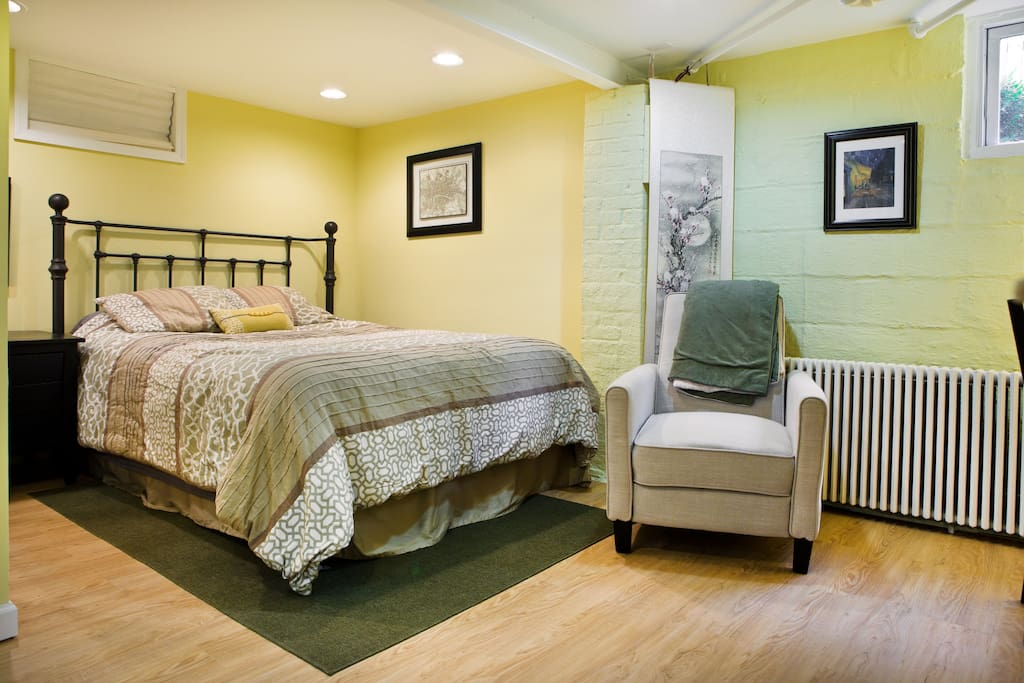Queen bed and recliner