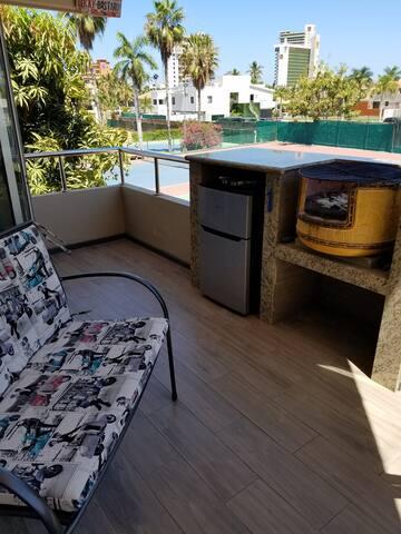 New Food prep, mini fridge and grilling area on patio