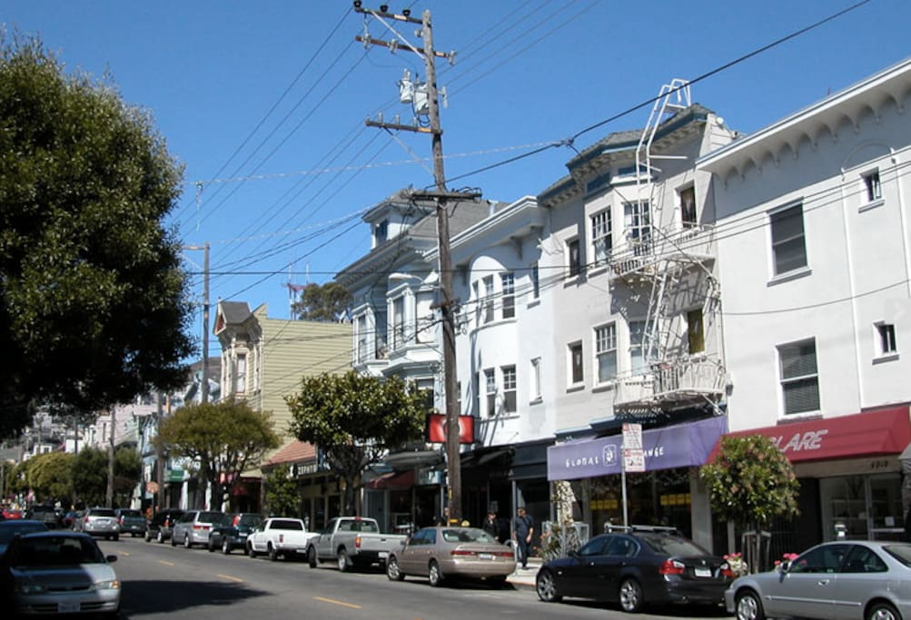 10 minute walk down the hill to the many shops and restaurants along 24th Street in Noe Valley.