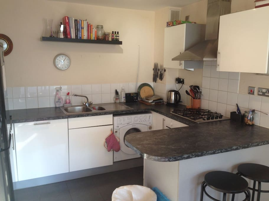 Open Plan Kitchen with Mod-Cons including coffee machine, washer/dryer and dishwasher