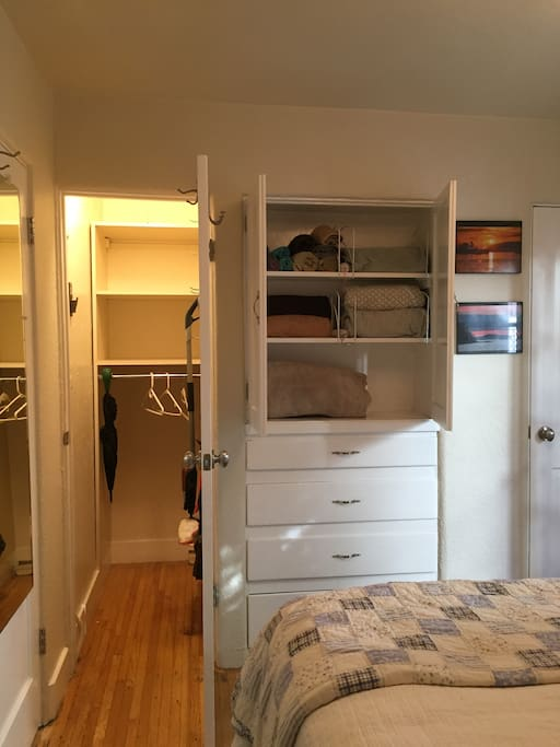 Bedroom with closet and built-in drawers