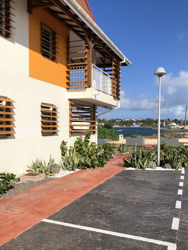 Apartment with one bedroom in Le Moule, with wonderful sea view, furnished terrace and WiFi - 30 m from the beach