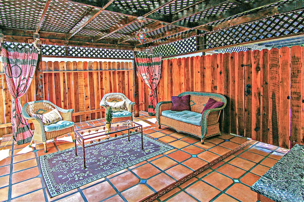 Large, Indoor/Outdoor Cabana Room with Curtains for Extra Privacy