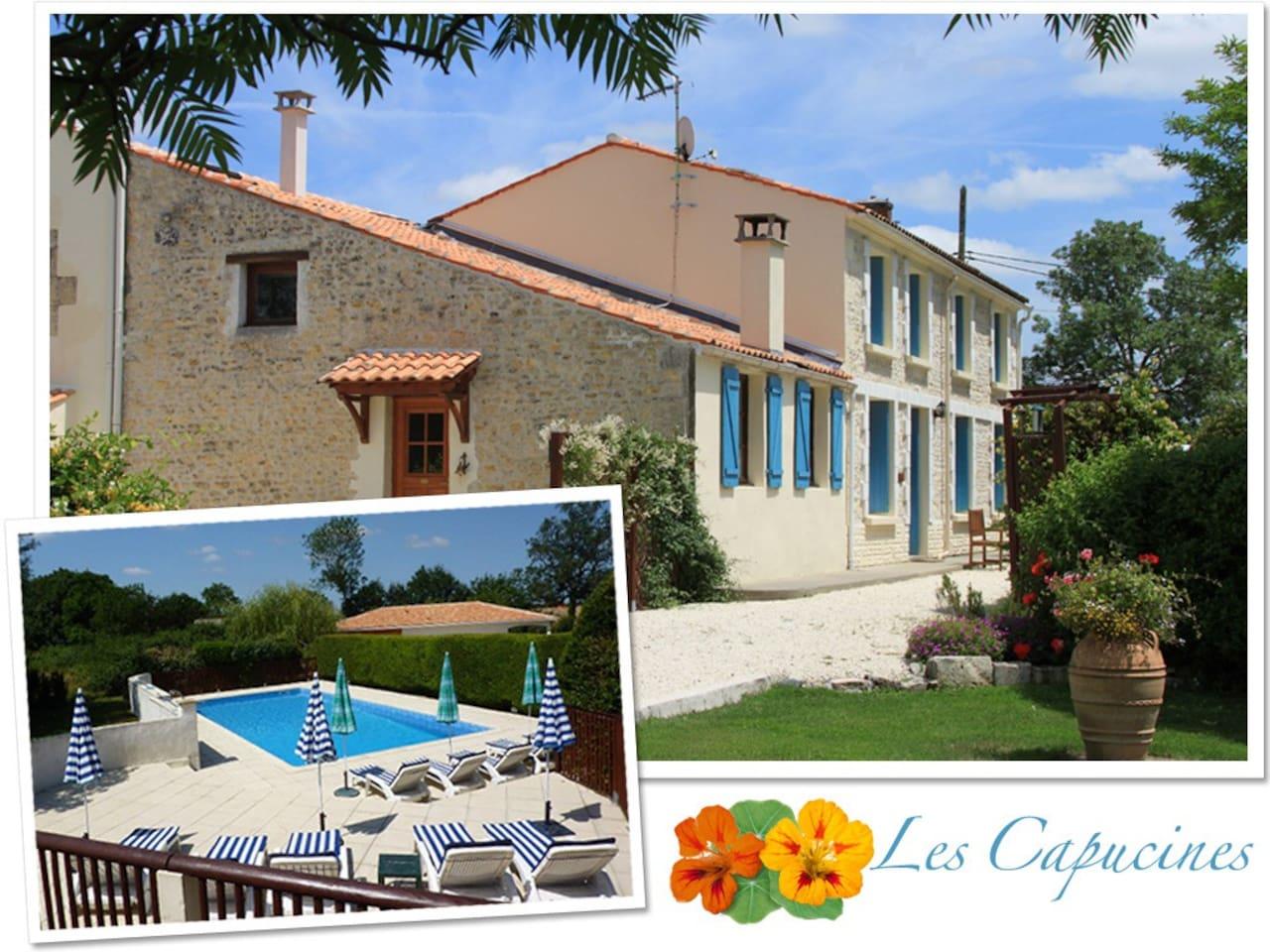 C18th Charentaise Farmhouse with large Pool, nr La Rochelle & Ile de Ré