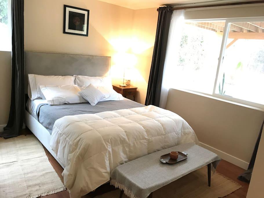 Room 1: Exquisite y queen bed, closet, dresser.