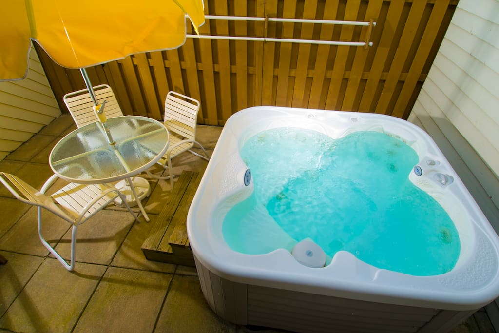 Each unit has it's own private hot tub