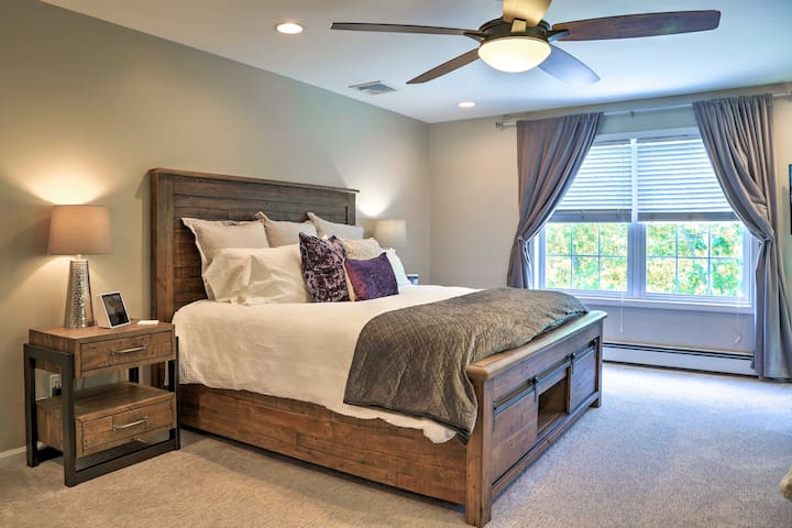 Crawl under the covers of the king bed in the master bedroom.