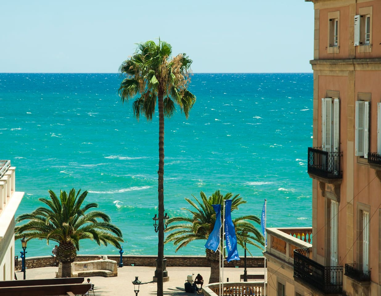 Magnificent Mediterranean Sea Views from Two Private, Sun-Drenched Terraces. Sea View Sitges Holiday Rental Apartment,  Beach Vacation Accommodation. Tourist License: HUTB-006157.