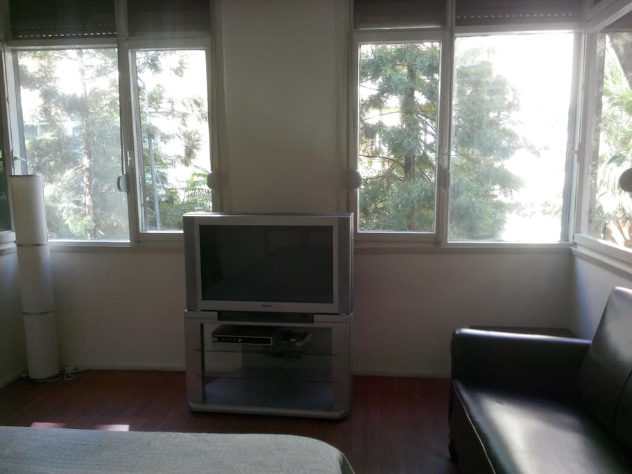 Room has windows on 3 sides and gets a lot of fresh air and sunshine. TV does not work.