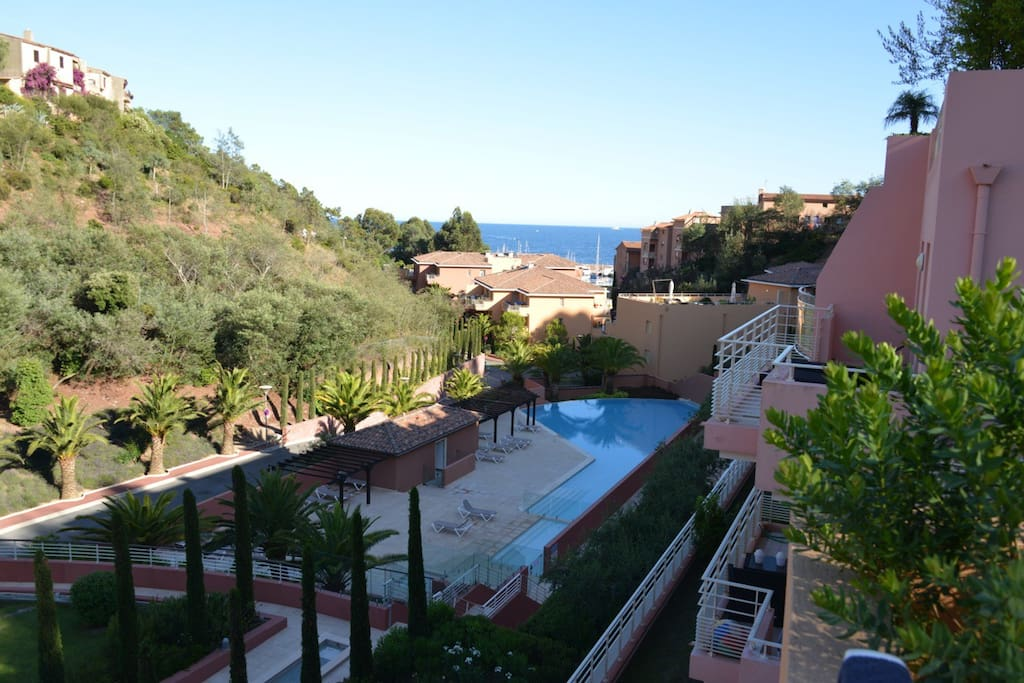 View from the terrace towards pool and sea