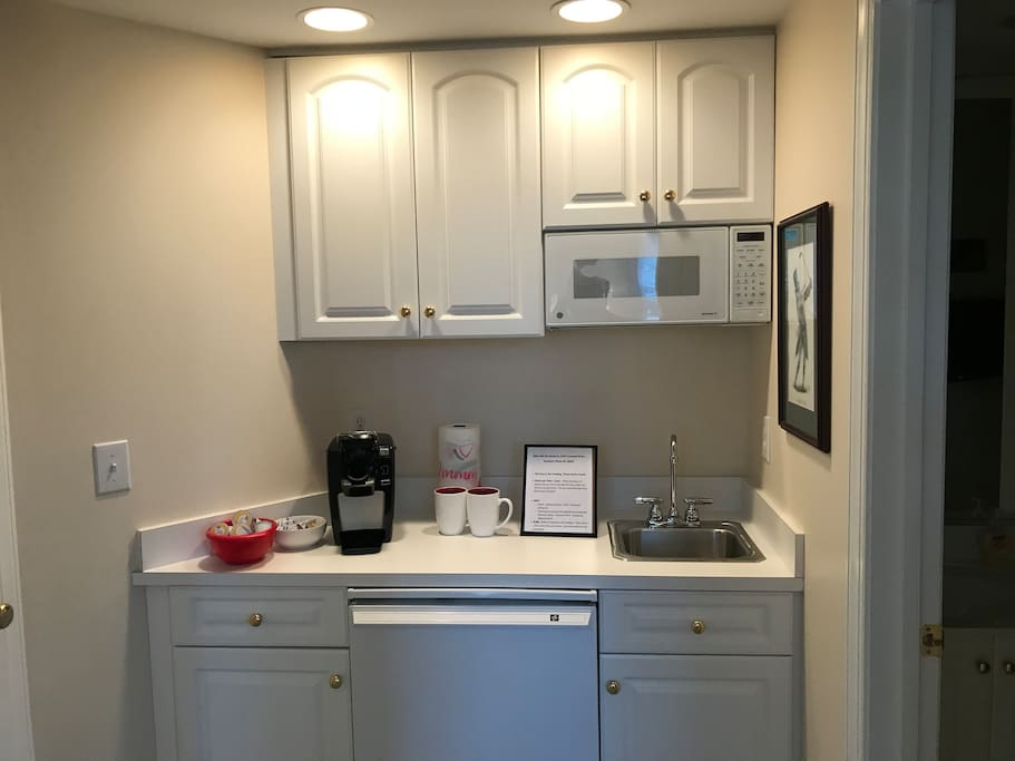 Mini kitchen, sink, microwave, keurig, refrigerator