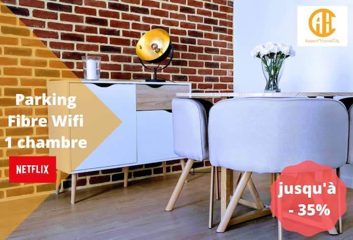★ Appart'HomeCity | Rouen Vauban ★ 1 Chambre ★ Parking ★ Fibre Wifi ★ Netflix