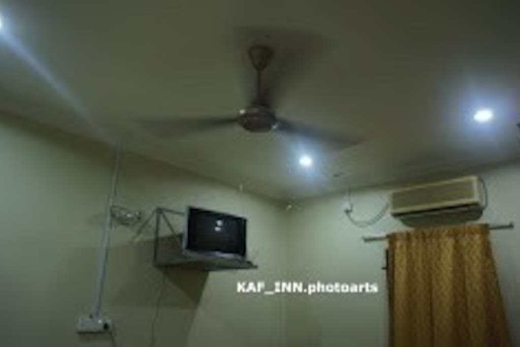 Among the amenities provided in KAF INN are:-   Fully air-conditioned rooms with also ceiling fans, attached bathrooms with water heaters, queen-sized beds with extra thin mattresses (Toto/ Narita) and extra pillows, televisions with ASTRO,  all WIFI, wardrobes, and dressing tables.
