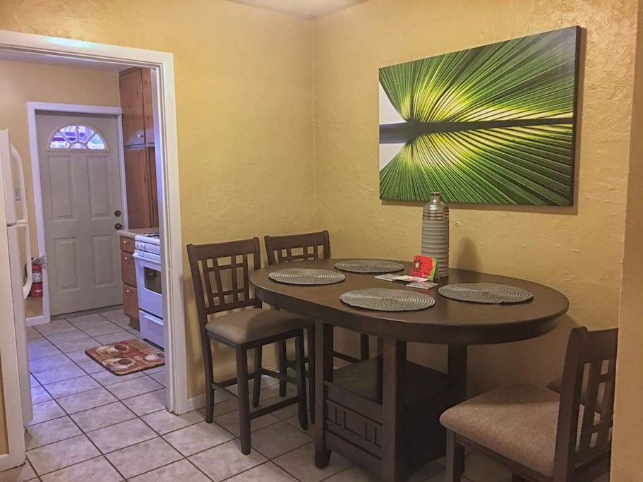Dining area is connect to the kitchen for convenience.