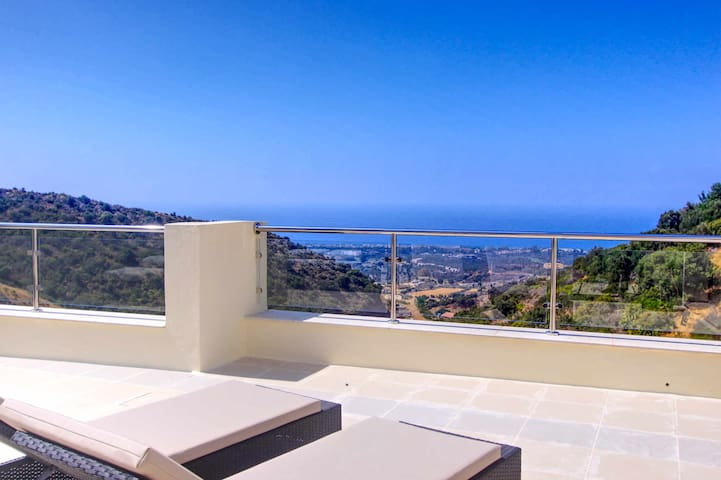 1090 amazing panorama sea view penthouse large terrace heated pool gym