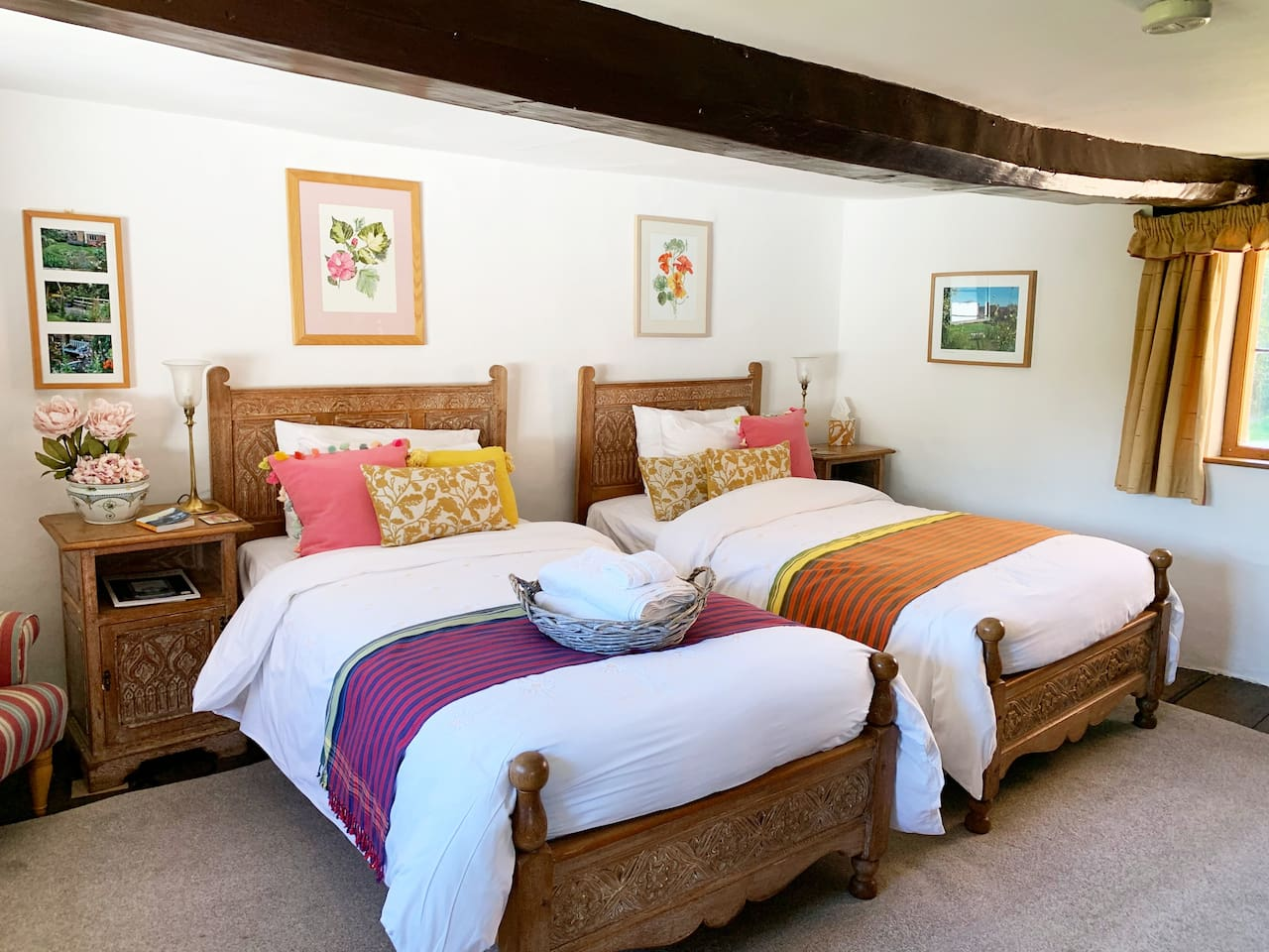 Two large single beds. This room has the best views.