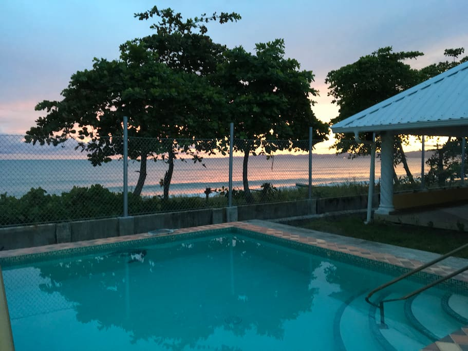 Poolside at sunset.